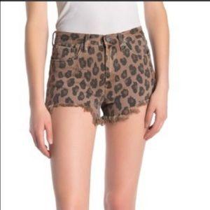 BLANKNYC Denim Leopard Print Denim Shorts